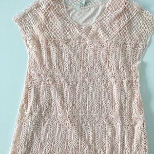 Dresses & Skirts - Boho crocheted pink dress